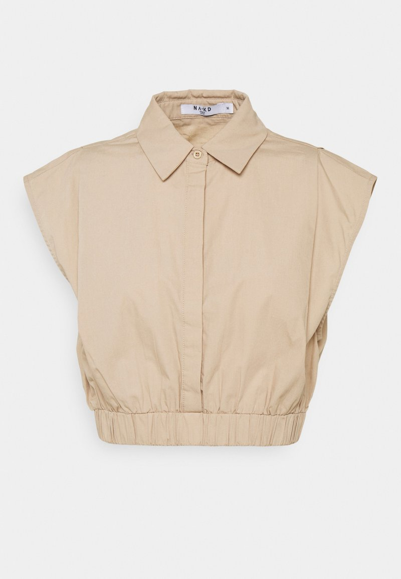 NA-KD - CROPPED WIDE SHOULDERS - Košile - beige