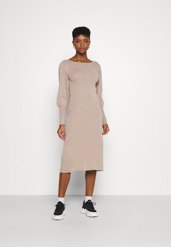 OPEN BACK MIDI DRESS - Jumper dress - beige