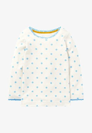 SUPERWEICHES POINTELLE - Long sleeved top - ivory blue geo flower