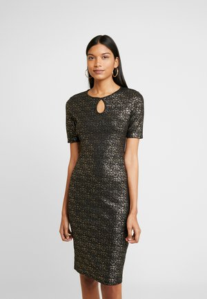 SPLIT NECK SMUDGE BODYCON - Shift dress - gold