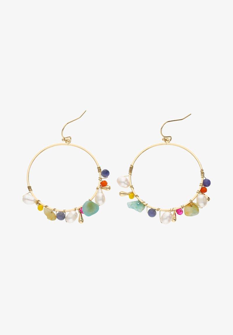 Six - MIT GLASPERLEN KUNSTSTOFFPERLEN QUARZ-SCHMUCKSTEINE - Earrings - goldfarben