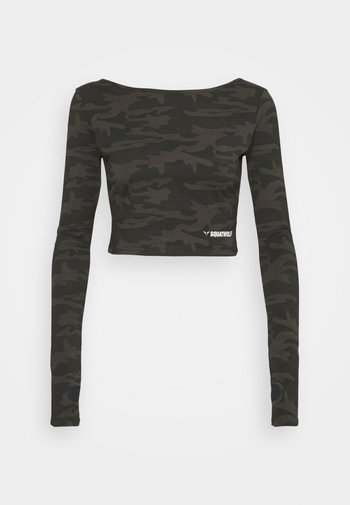 WARRIOR CROP TEE - Long sleeved top - black