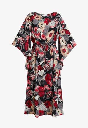 FLORAL KIMONO SLEEVE DRESS - Maxi šaty - black