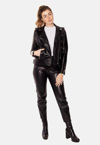 LEATHER HYPE - ALEX PERFECTO - Leather jacket - black with light silver accessories - 6