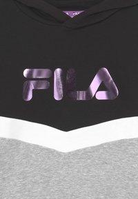 Fila - GRACE TAPED HOODY UNISEX - Sweatshirt - black/light grey melange bros/bright white - 2