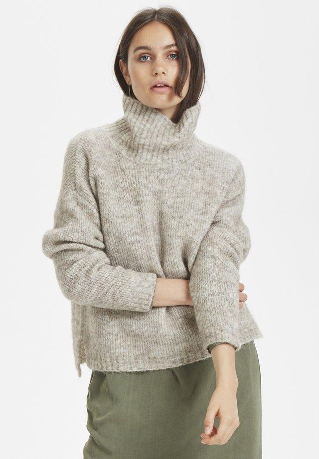 ROLLNECK - Sweter - beige melange