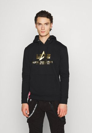 HOODY FOIL PRINT - Luvtröja - black / yellow gold