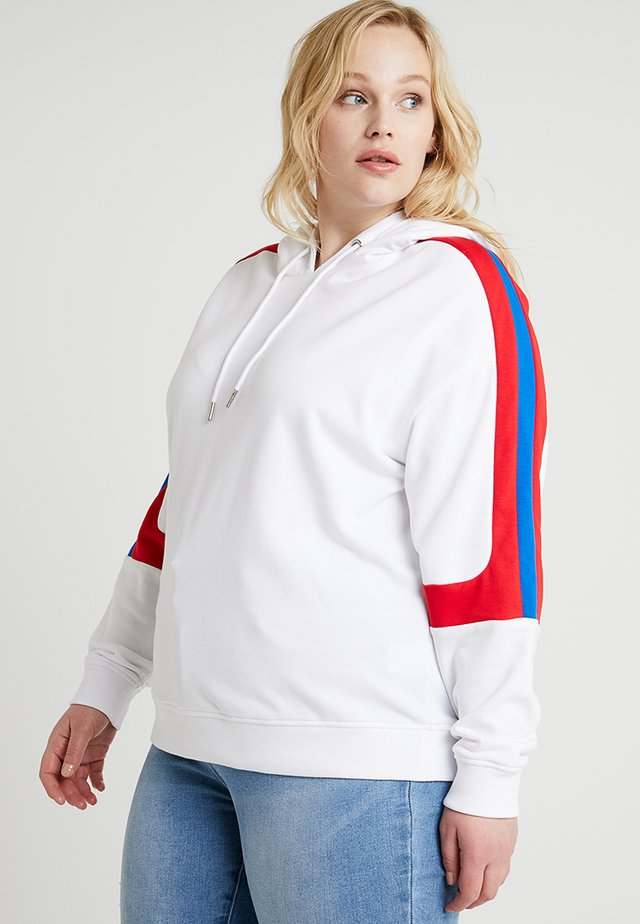 LADIES PANEL TERRY HOODY - Hoodie - white/firered/brightblue