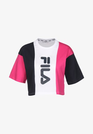 T-SHIRT BAI CROPPED - Camiseta estampada - pink yarrow/black iris/brown