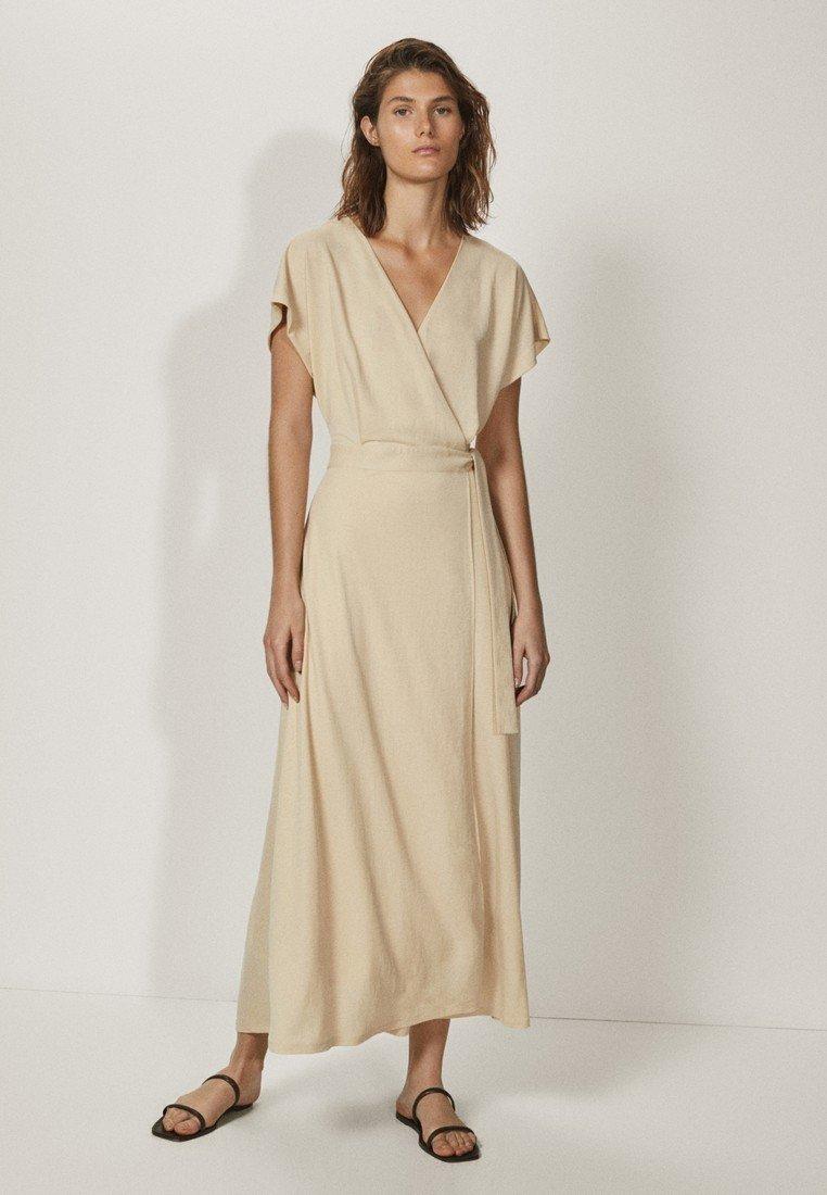 Massimo Dutti - KIMONO-MIT SCHLEIFE  - Sukienka z dżerseju - beige