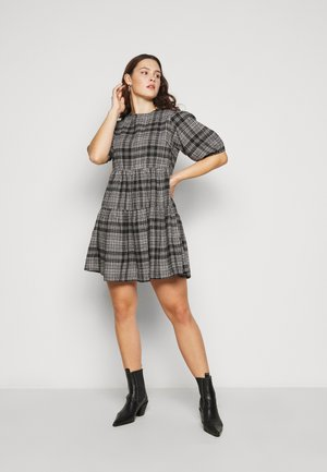 CHECK SMOCK DRESS - Day dress - black