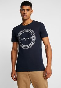 Jack & Jones - JCOBUBBLE TEE CREW NECK SLIM FIT - Print T-shirt - sky captain - 0