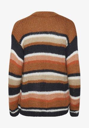 KAMERLA - Cardigan - brown / blue stripe