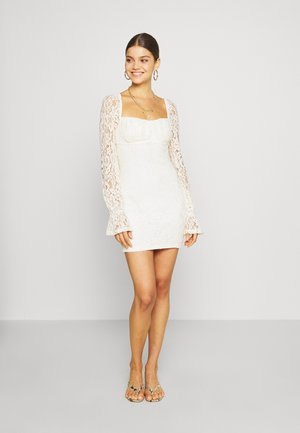 RUCHED MINI DRESS - Sukienka koktajlowa - off white