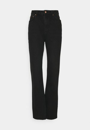 HIGH WAIST RAW HEM - Džíny Relaxed Fit - washed black denim