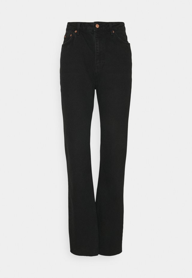 HIGH WAIST RAW HEM - Jeans relaxed fit - washed black denim