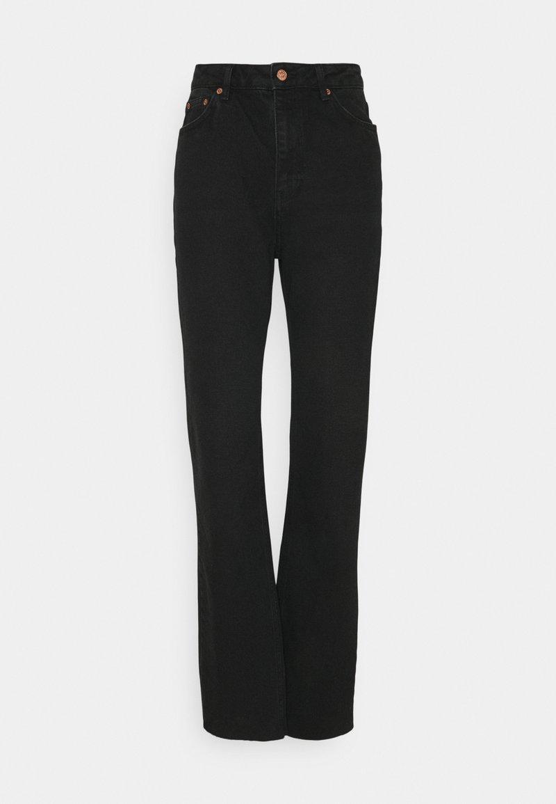 NA-KD Tall - HIGH WAIST RAW HEM - Jeans relaxed fit - washed black denim