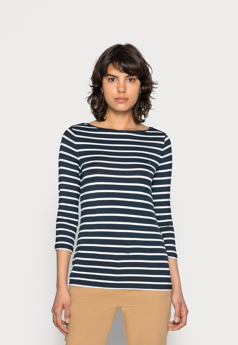Tommy Hilfiger - HERITAGE BOAT NECK TEE 3/4 - Long sleeved top - midnight/classic white