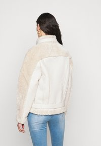 Missguided Tall - PREMIUM BELTED AVIATOR - Faux leather jacket - cream - 2