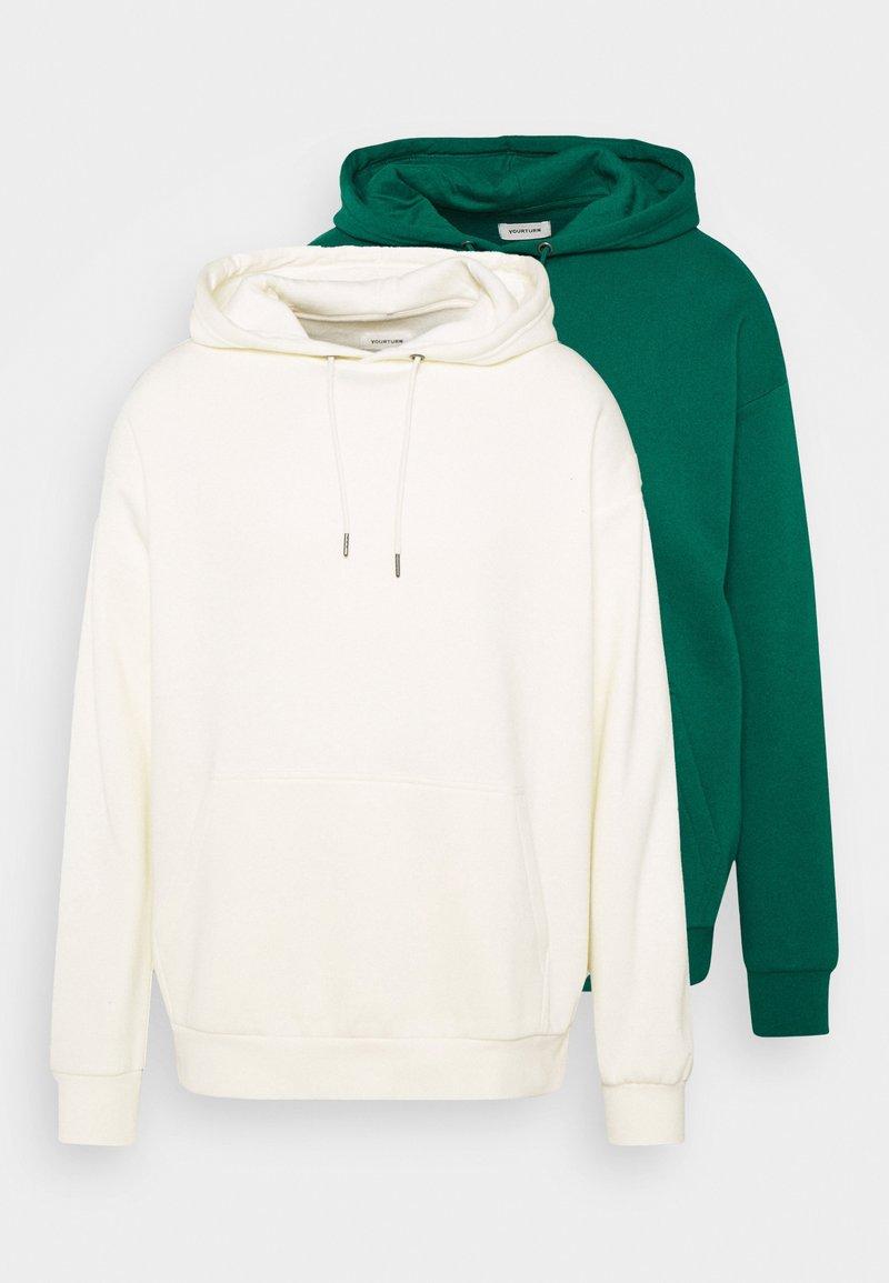 YOURTURN - 2 PACK UNISEX - Hoodie - off-white/green