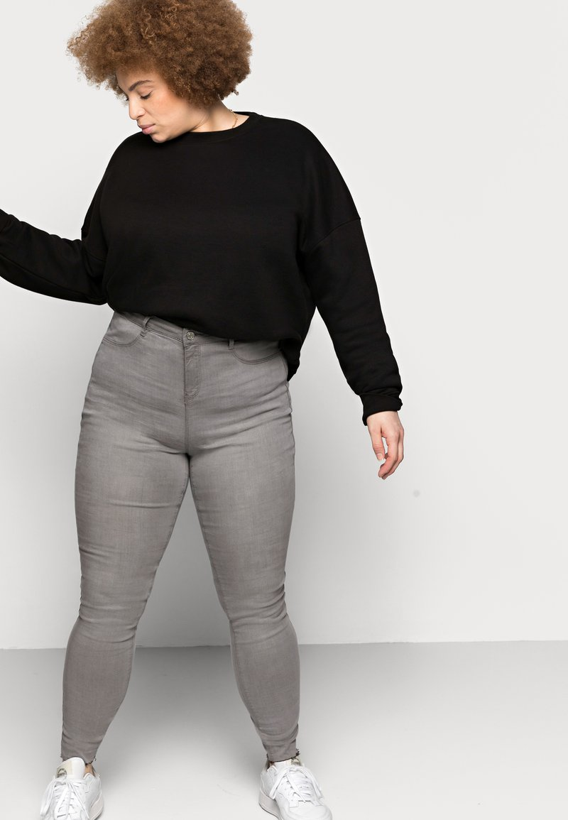 Missguided Plus - LAWLESS HIGHWAISTED SUPERSOFT - Jeans Skinny Fit - grey