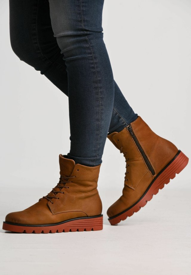 CLAUDIA - Lace-up ankle boots - camel