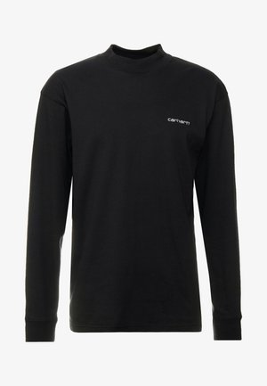 MOCKNECK SCRIPT EMBROIDERY - Long sleeved top - black/white