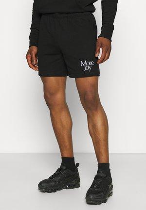 MORE JOY EMBROIDERED CLASSIC SHORTS UNISEX - Shorts - black/white