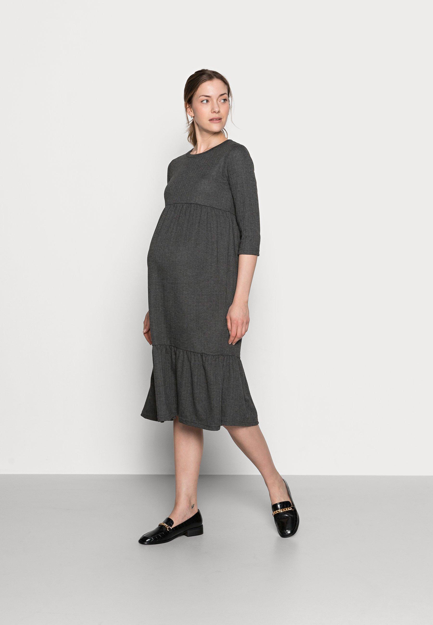 Women MLMARGO 3/4 MIDI DRESS - Jersey dress - dark grey