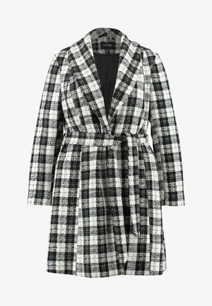 DETACHABLE TRIM BELTED CHECK WRAP COAT - Short coat - black
