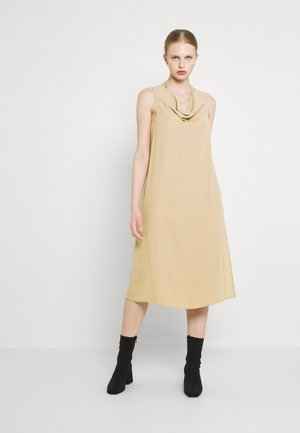 DRAPED FRONT MIDI DRESS - Vestido informal - beige