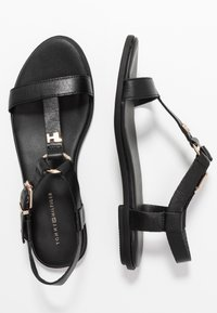 Tommy Hilfiger - FEMININE LEATHER FLAT SANDAL - Sandalias - black