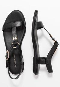Tommy Hilfiger - FEMININE LEATHER FLAT SANDAL - Sandals - black - 3