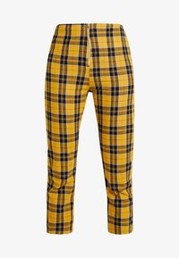 YELLOW PLAID PANTS - Pantalones - yellow