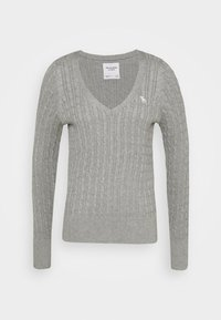 Abercrombie & Fitch - ICON CABLE VNECK - Jumper - light grey - 1