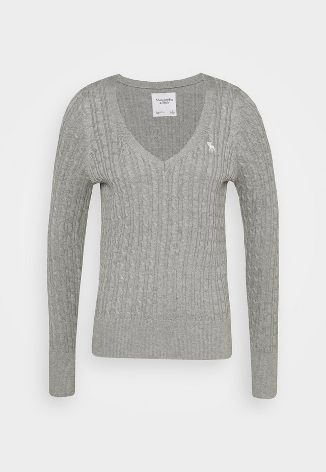ICON CABLE VNECK - Pullover - light grey