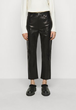 GNEISS TROUSERS - Leather trousers - black