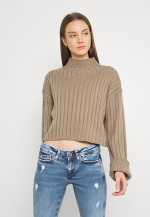 CROPPED TURTLE NECK - Jersey de punto - taupe