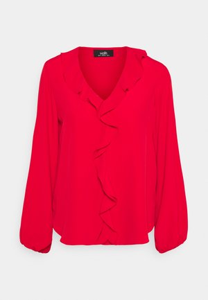 RUFFLE BLOUSON TOP - Bluser - red