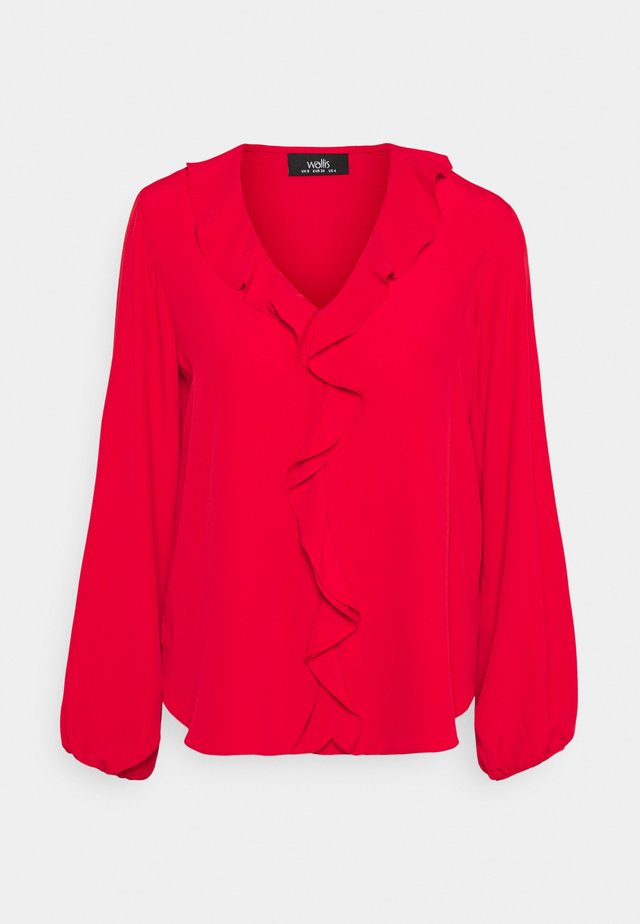 RUFFLE BLOUSON TOP - Blouse - red