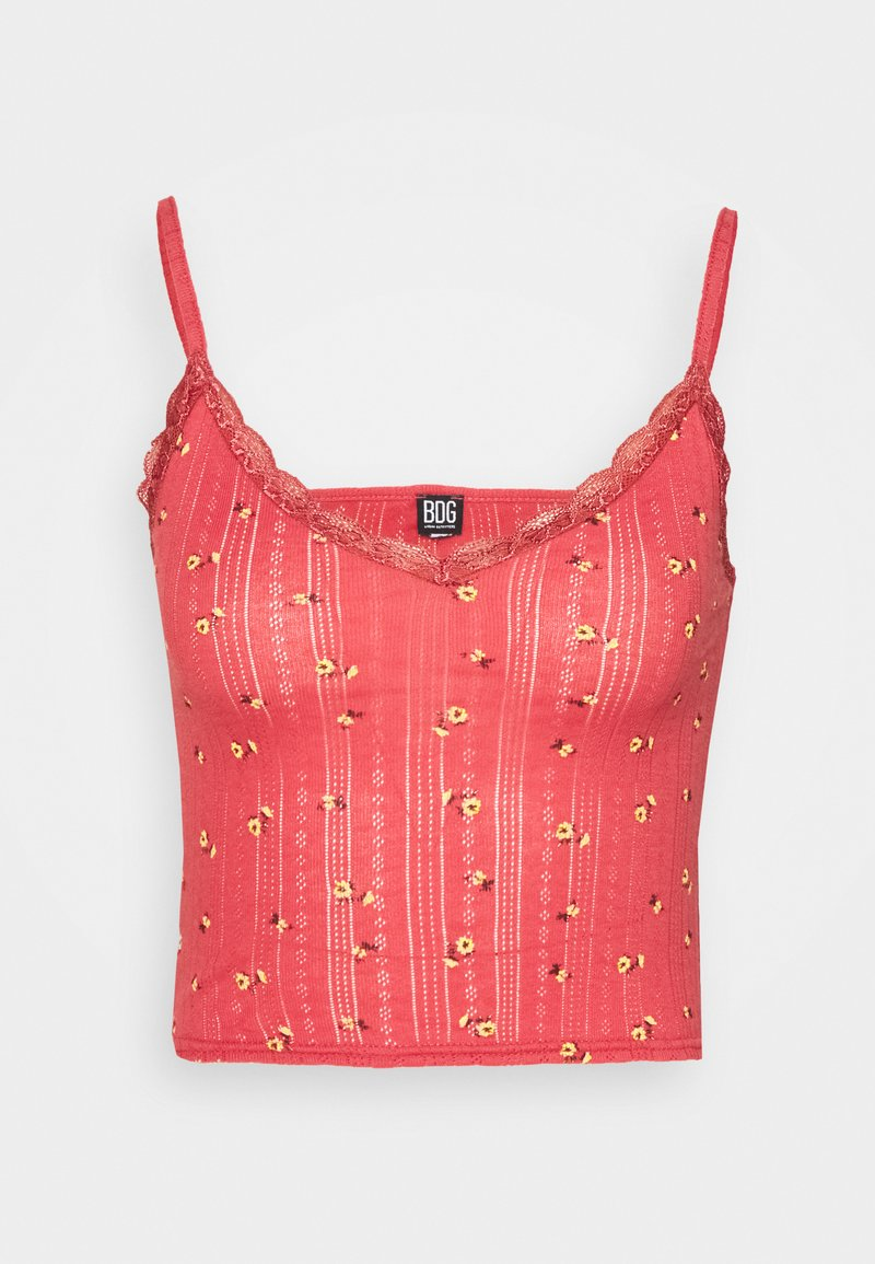 BDG Urban Outfitters - POINTELLE VNECK CAMI - Topper - mineral red