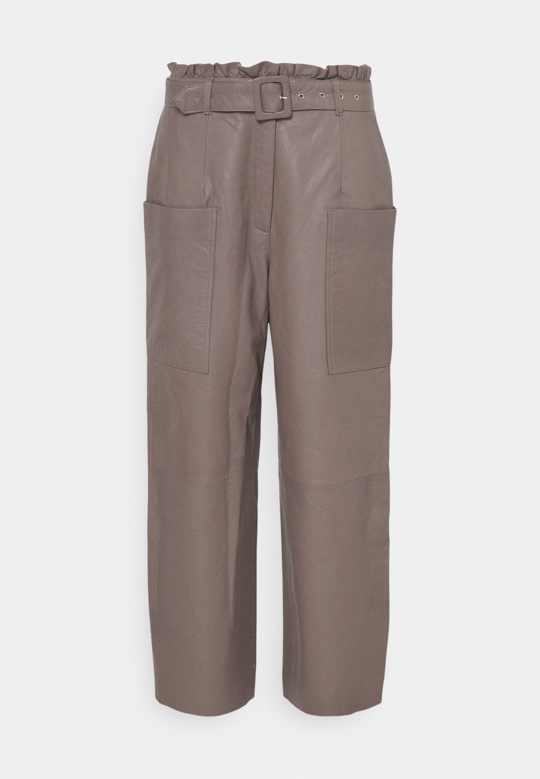 Women SLFMOON CROP PANTS - Leather trousers
