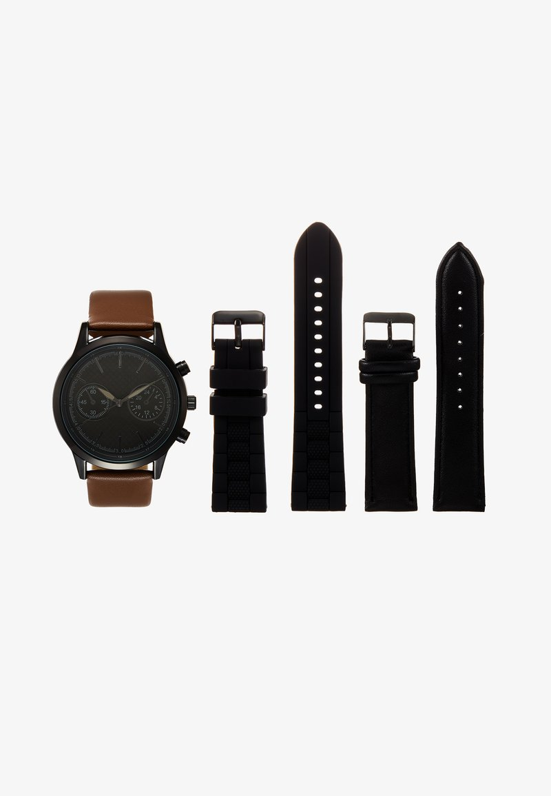 Pier One - SET - Reloj - black/cognac