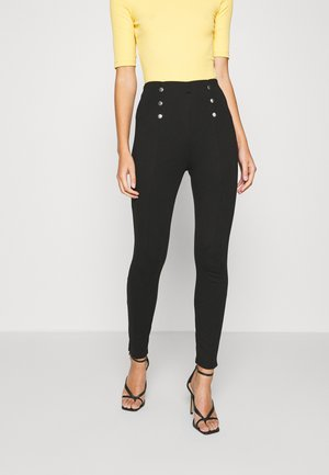 BUTTON DETAIL PUNTO LEGGING - Leggings - Trousers - black