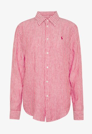 STRIPE LONG SLEEVE - Button-down blouse - red/white
