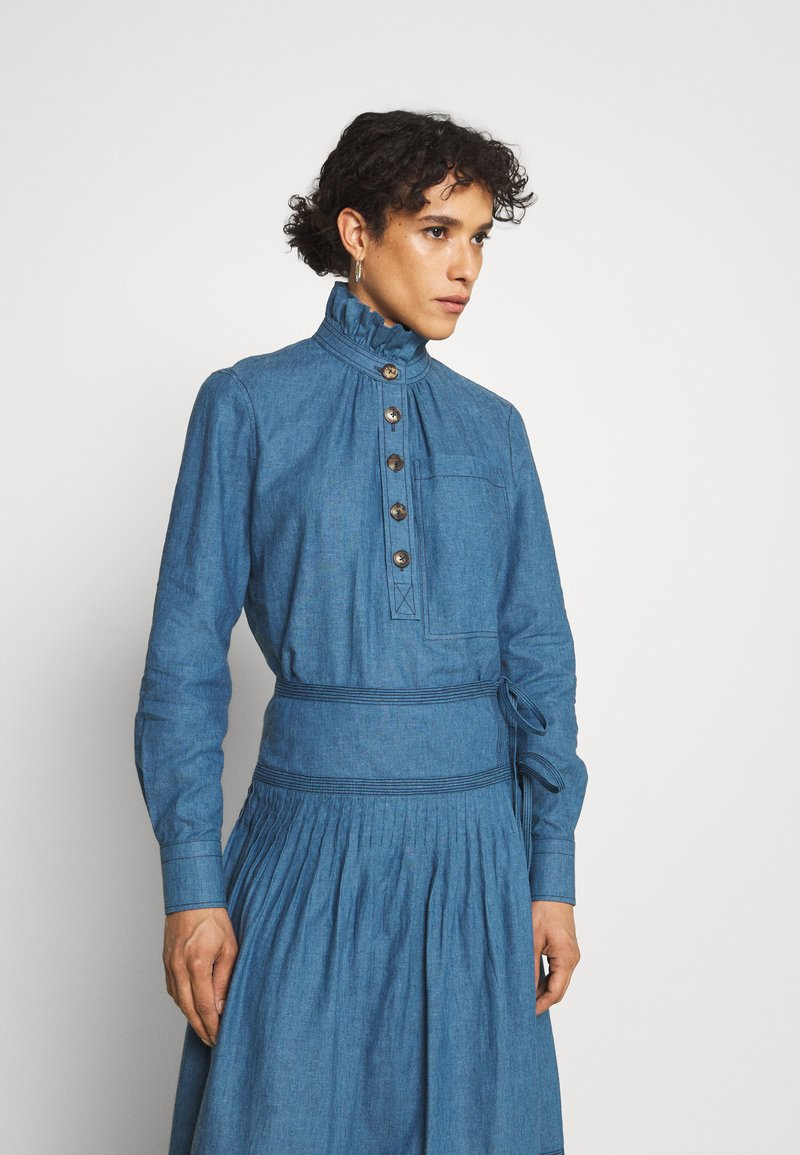 Tory Burch - RUFFLE NECK BLOUSE - Blouse - blue
