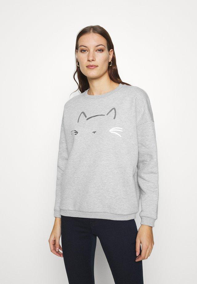 CAT PRINTED - Sweatshirts - grey melange