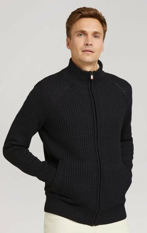 MIT STEHKRAGEN UND REISSVERSC - Cardigan - black grey melange