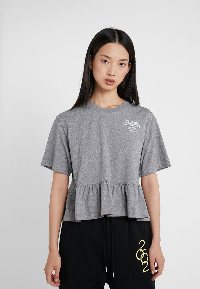 RUFFLE PEPLUM TEE - Print T-shirt - heather grey