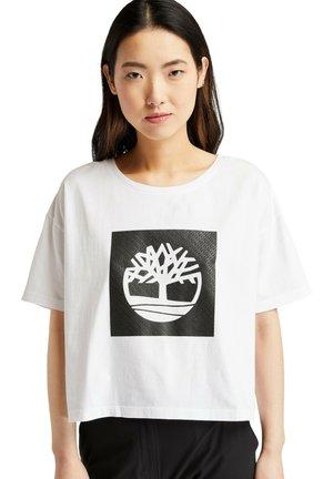 CROPPED LOGO TEE - Print T-shirt - white